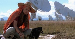 Jodie Foster (Eleanor Arroway) decides to devote her entire life to pursuing the mysteries of the galaxy that her father opened her eyes to.
